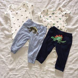 2 carter's dinosaur 🦕 matching sets. Size 6 mo.